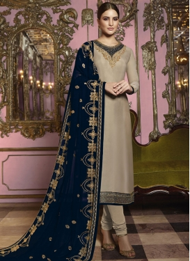 Satin Georgette Embroidered Work Pakistani Salwar Suit