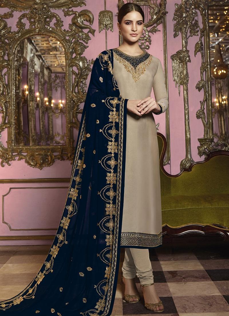 Satin Georgette Embroidered Work Pakistani Salwar Suit