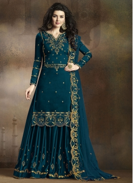 Satin Georgette Embroidered Work Palazzo Designer Salwar Kameez