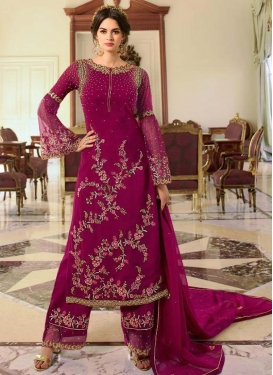 Satin Georgette Embroidered Work Palazzo Style Pakistani Salwar Kameez