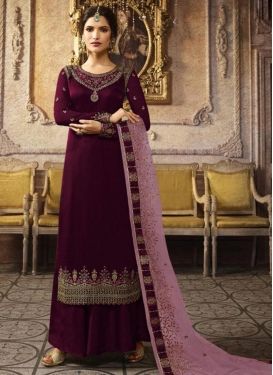 Satin Georgette Embroidered Work Palazzo Style Pakistani Salwar Suit