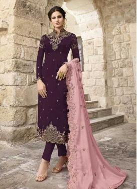 Satin Georgette Embroidered Work Pant Style Pakistani Salwar Kameez