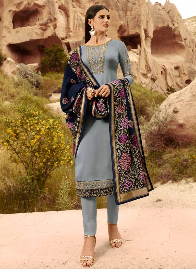 Satin Georgette Embroidered Work Pant Style Pakistani Suit