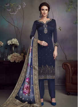 Satin Georgette Embroidered Work Pant Style Salwar Kameez