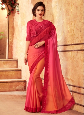 Satin Georgette Embroidered Work Peach and Rose Pink Designer Traditional Saree