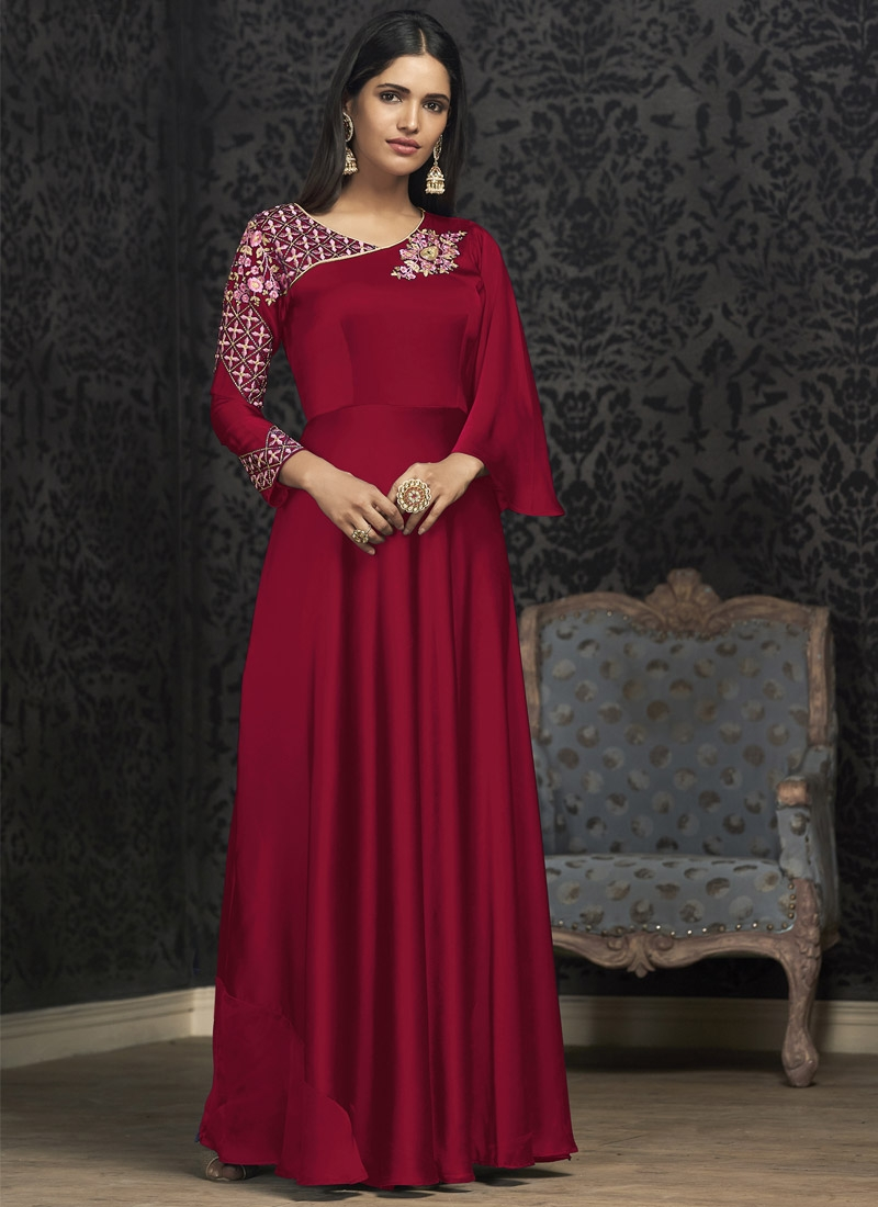 Satin Georgette Embroidered Work Readymade Floor Length Gown