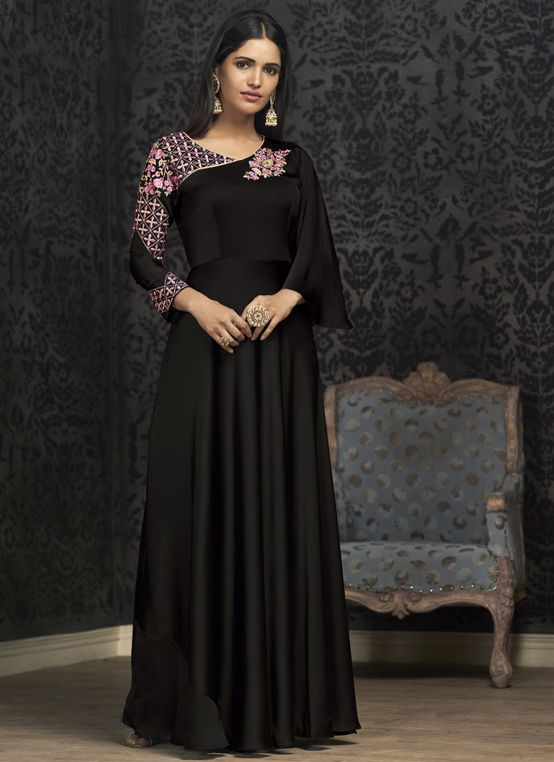 Satin Georgette Embroidered Work Readymade Trendy Gown