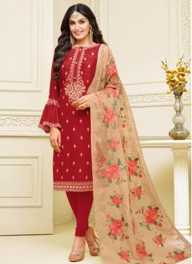 Satin Georgette Embroidered Work Trendy Churidar Salwar Kameez