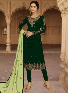 Satin Georgette Embroidered Work Trendy Churidar Salwar Suit