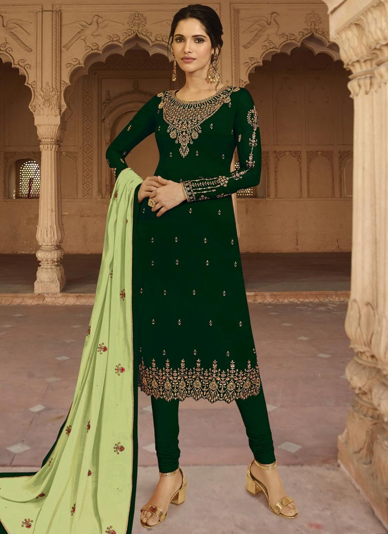 Satin Georgette Embroidered Work Trendy Churidar Salwar Suit