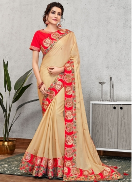 Satin Georgette Embroidered Work Trendy Classic Saree