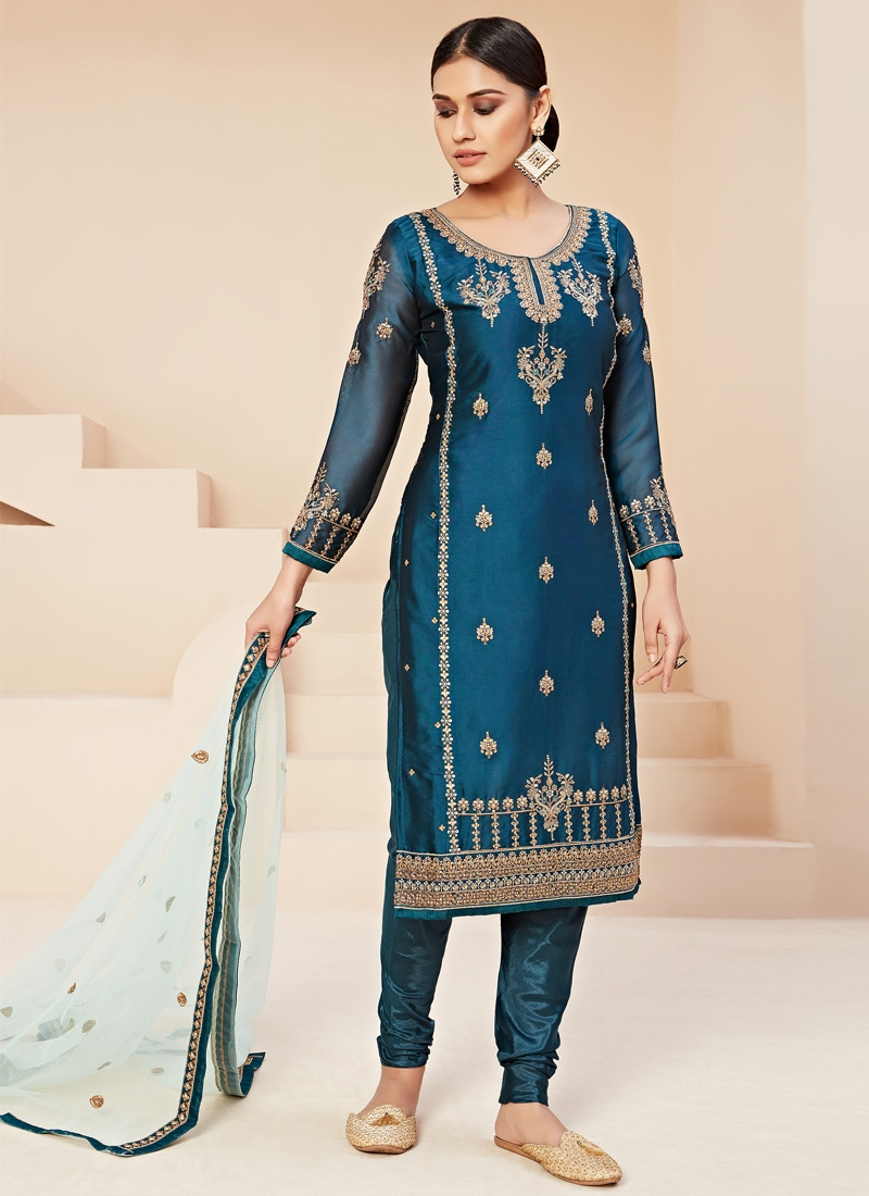 Satin Georgette Embroidered Work Trendy Pakistani Salwar Suit