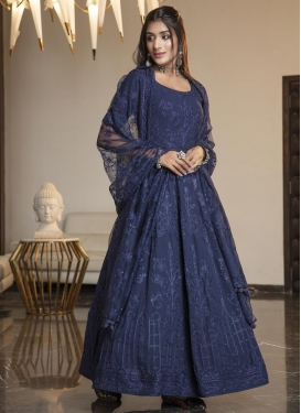 Satin Georgette Floor Length Anarkali Salwar Suit