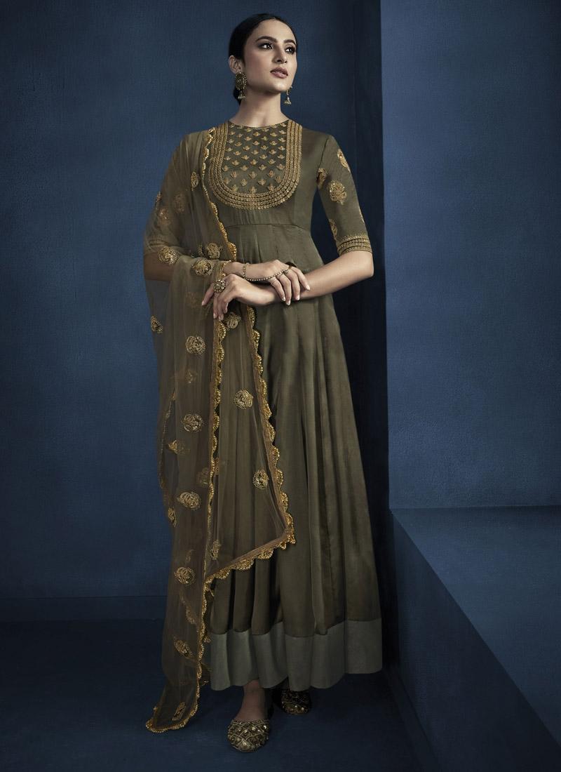Satin Georgette Floor Length Designer Salwar Suit