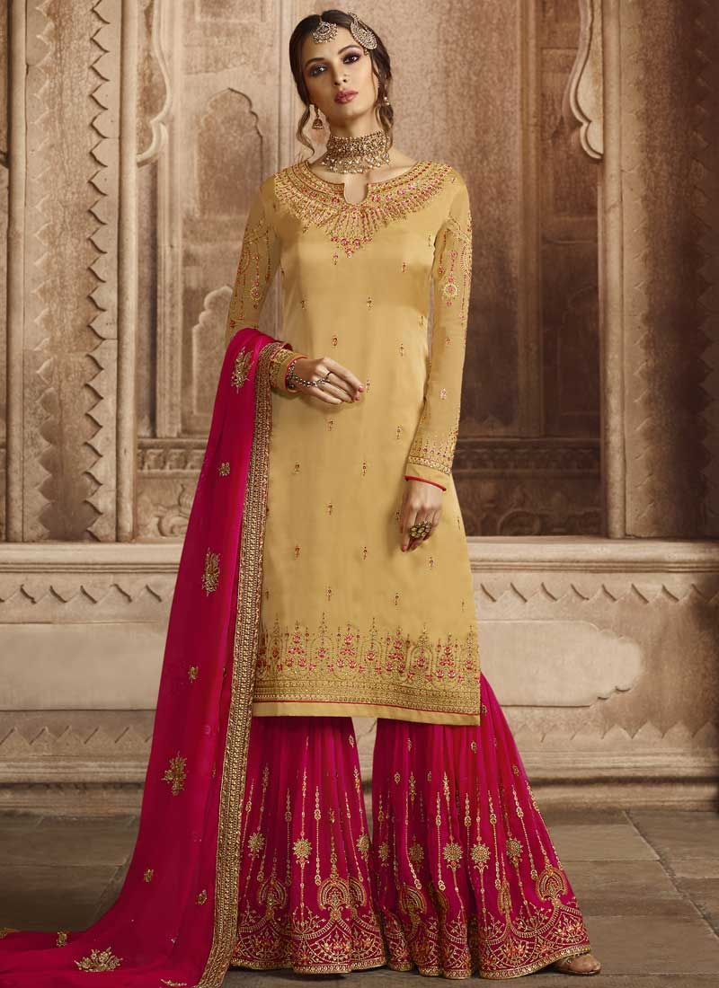 Satin Georgette Gold and Rose Pink Embroidered Work Sharara Salwar Suit