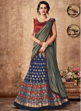 Satin Georgette Grey and Navy Blue Lehenga Style Saree