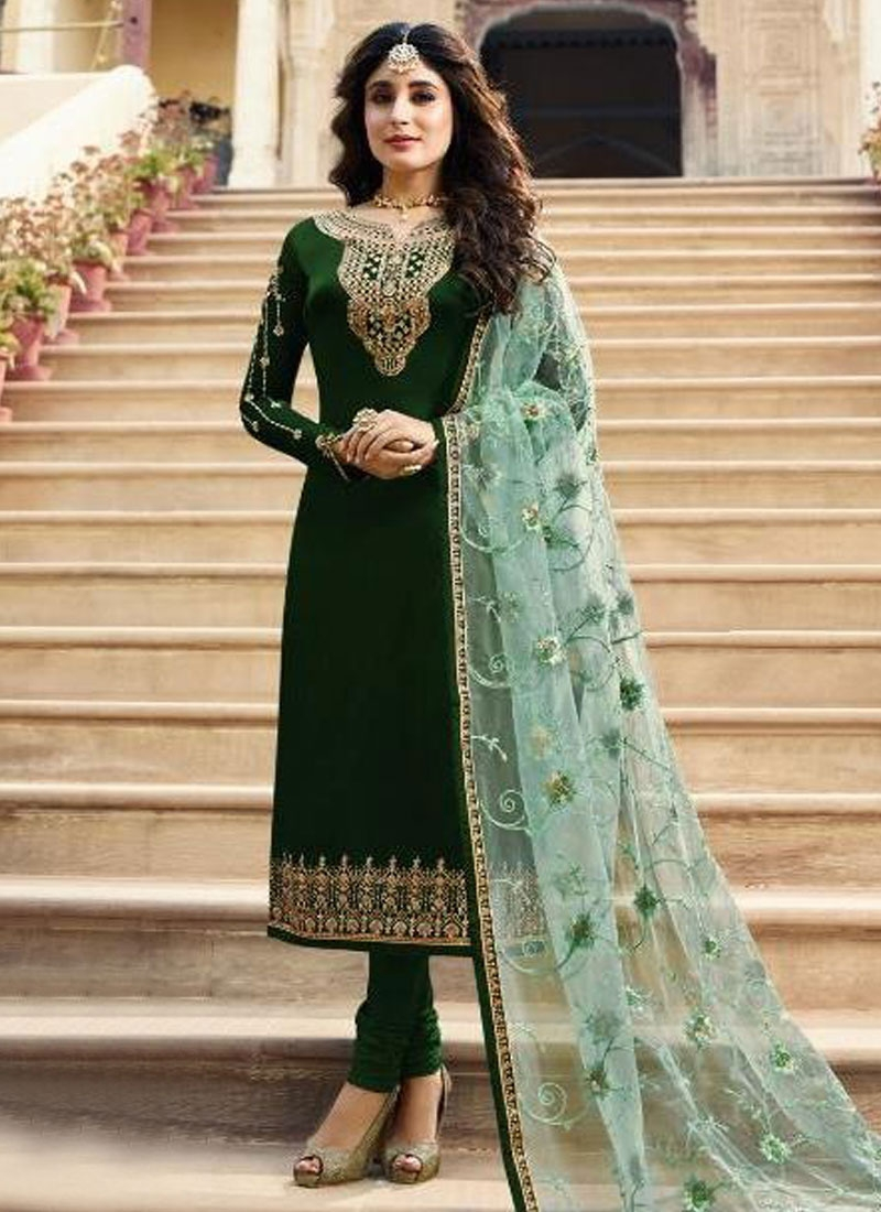 Satin Georgette Long Length Pakistani Salwar Suit