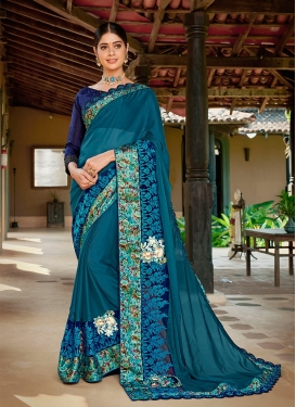 Satin Georgette Navy Blue and Teal Classic Saree For Festival
