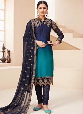 Satin Georgette Navy Blue and Teal Embroidered Work Trendy Churidar Salwar Suit