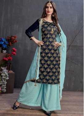 Satin Georgette Navy Blue and Turquoise Designer Palazzo Salwar Kameez