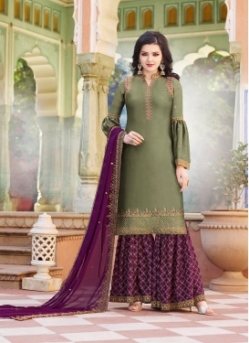 Satin Georgette Olive and Purple Embroidered Work Sharara Salwar Suit