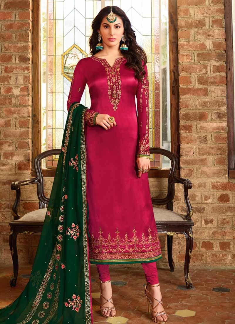 Satin Georgette Pakistani Straight Salwar Kameez