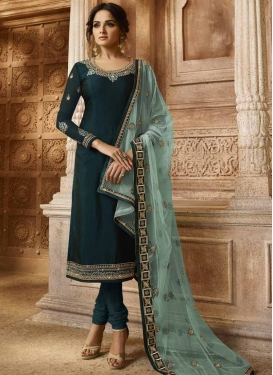 Satin Georgette Pakistani Straight Salwar Suit
