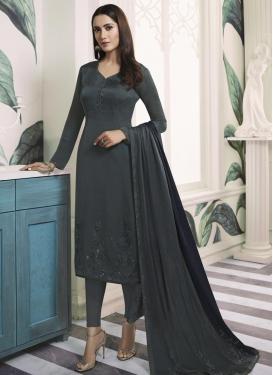 Satin Georgette Pakistani Straight Salwar Suit