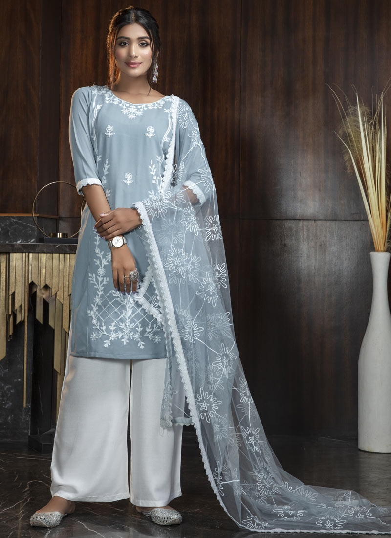 Satin Georgette Palazzo Straight Salwar Kameez For Casual