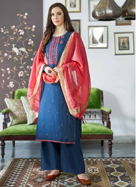 Satin Georgette Palazzo Style Pakistani Salwar Kameez