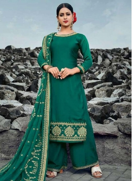 Satin Georgette Palazzo Style Pakistani Salwar Kameez For Ceremonial