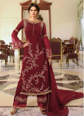 Satin Georgette Palazzo Style Pakistani Salwar Suit For Ceremonial