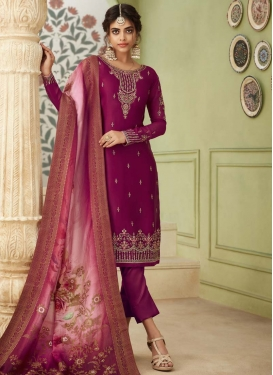 Satin Georgette Pant Style Classic Salwar Suit For Ceremonial
