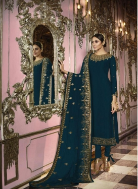 Satin Georgette Pant Style Pakistani Salwar Kameez For Ceremonial