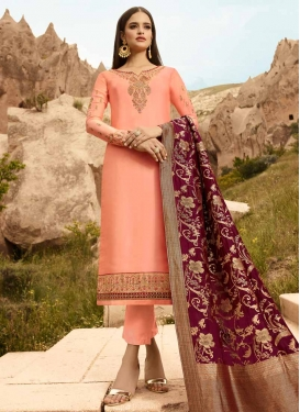 Satin Georgette Pant Style Pakistani Salwar Suit For Festival