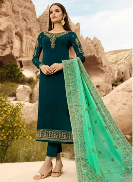 Satin Georgette Pant Style Pakistani Suit For Festival
