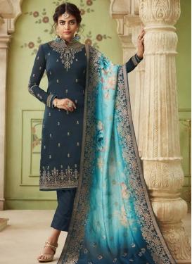 Satin Georgette Pant Style Salwar Suit