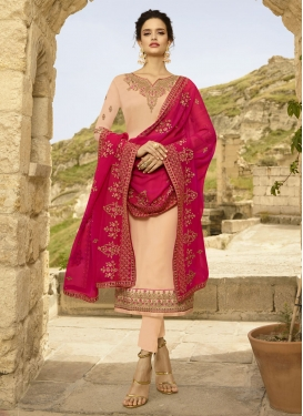 Satin Georgette Pant Style Salwar Suit For Ceremonial
