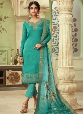 Satin Georgette Pant Style Straight Salwar Suit