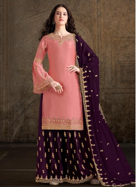 Satin Georgette Purple and Salmon Palazzo Straight Salwar Suit