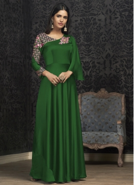 Satin Georgette Readymade Long Length Gown