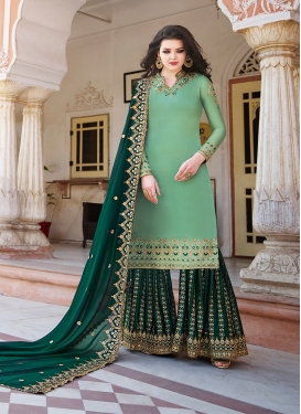 Satin Georgette Sharara Salwar Suit