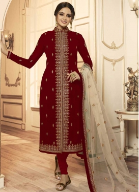 Satin Georgette Trendy Churidar Suit For Festival
