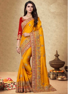 Satin Georgette Trendy Classic Saree For Bridal