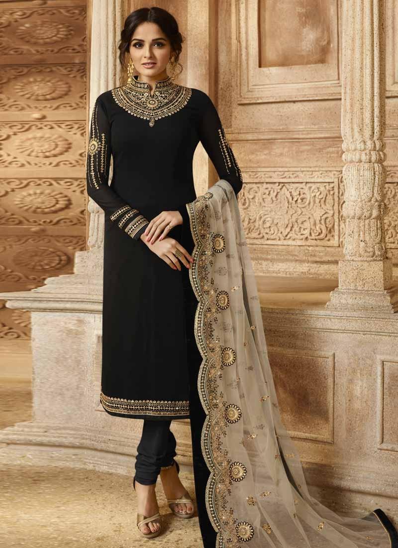 Satin Georgette Trendy Pakistani Salwar Kameez