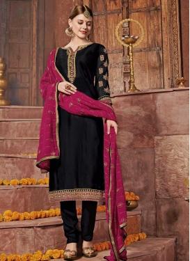 Satin Georgette Trendy Straight Salwar Kameez For Ceremonial