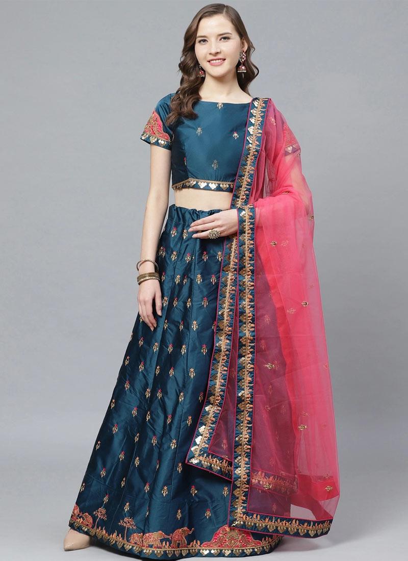 Satin Silk A Line Lehenga Choli For Ceremonial