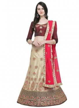 Satin Silk A - Line Lehenga For Ceremonial