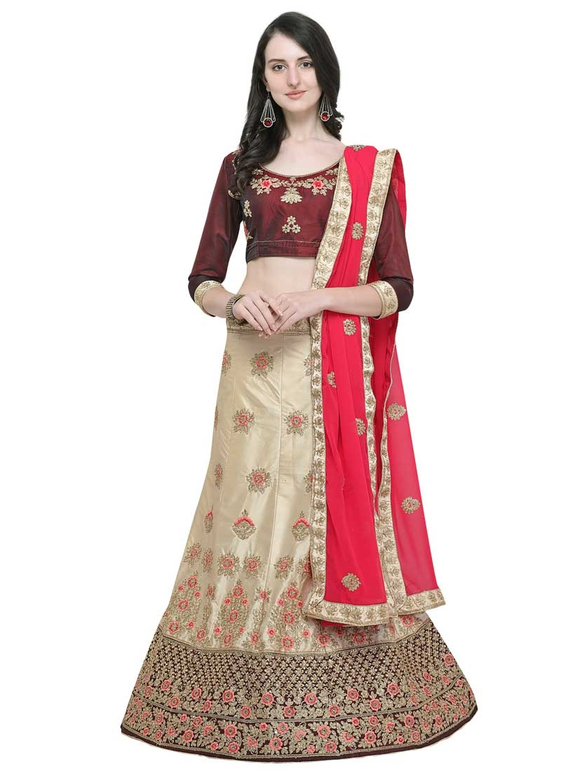Satin Silk A - Line Lehenga For Ceremonial