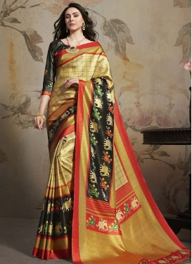 Satin Silk Abstract Print Work Traditional Designer Saree